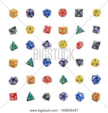Set of multiple colorful roleplaying polyhedral dices isolated over the white background, each kind represented in multiple foreshortenings