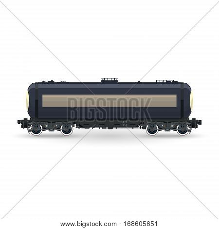 Tank on Railway Platform Isolated on White Background ,Railway Tank Car for Transportation of Liquid and Loose Freights ,Vector Illustration