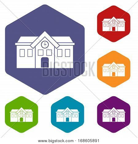 Chapel icons set rhombus in different colors isolated on white background