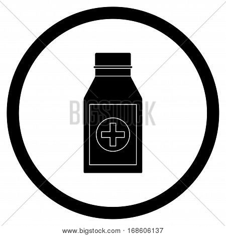Bottle with drug black icon vector. Vitamin medication drug illustration