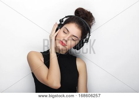Beauty Portrait Of Young Adorable Fresh Looking Brunette Woman With Closed Eyes Long Brown Healthy C
