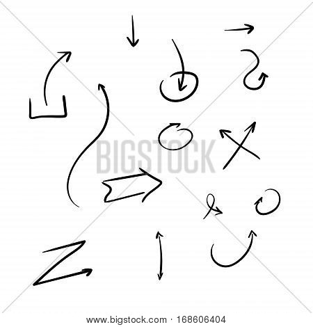Hand drawn arrows isolated. Graphic resourses sketch