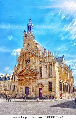 Paris, France - July 08, 2016 : Saint-etienne-du-mont Is A Church In Paris, France, Located On The M