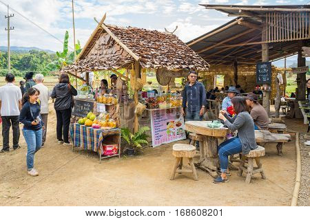 Mae Hong Son, Thailand - JAN 2, 2017: A small shop in front of the bamboo bridge ( Su Tong Pe bridge) in Mae Hong Son province Thailand.