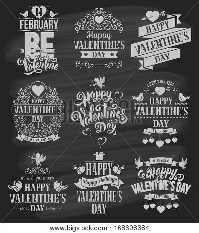 Happy Valentines Day typography designs set. Calligraphy and lettering. Vector badges, logo, emblems, text design on chalkboard. Usable for banners, greeting cards, gifts etc.