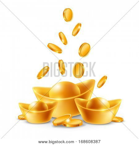 Chinese golden ingots and coins isolated on white background. Vector illustration.