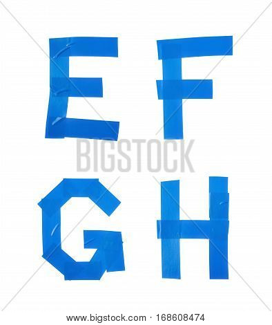 Set of E, F, G, H letter symbols made of insulating tape isolated over the white background