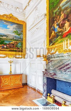 Versailles, France - July 02, 2016 : White Gallery With Painting In The Grand Trianon. Chateau De Ve