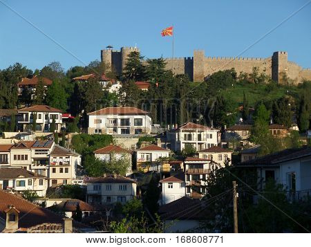 Samuel's Fortress over the old town of Ohrid in Macedonia