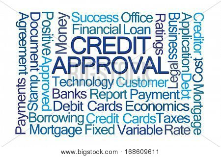 Credit Approval Word Cloud on White Background