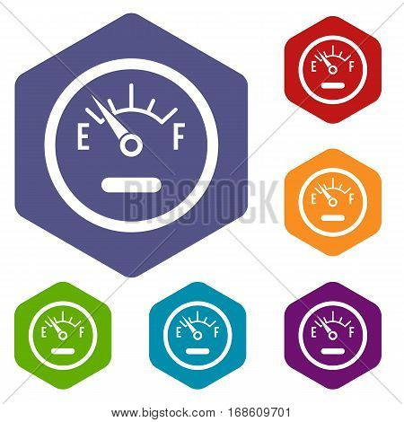 Fuel sensor icons set rhombus in different colors isolated on white background