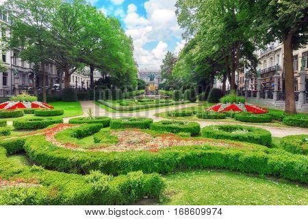 Brussels, Belgium - July 07, 2016 : Garden Of Small Sablon (jardin Du Petit Sablon), Brussels, Belgi