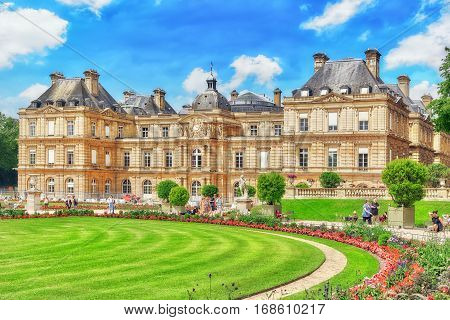 PARIS FRANCE - JULY 08 2016 : Luxembourg Palace and park in Paris the Jardin du Luxembourg one of the most beautiful gardens in Paris. France.