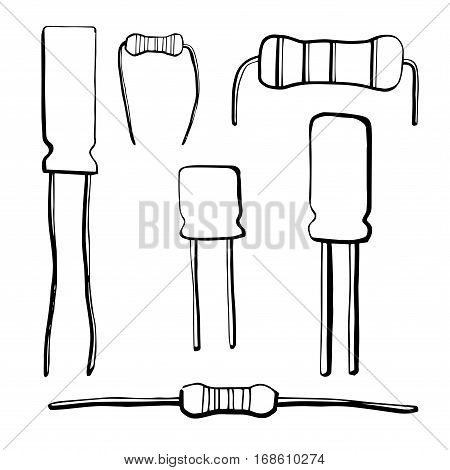 Set of electronic components: resistor electrolytic capacitor isolated on white background. Vector illustration in a sketch style.