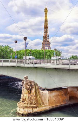 Pont De L'alma (alma Bridge In English) Is A Road Bridge In Paris Across The Seine And Zouave Statue