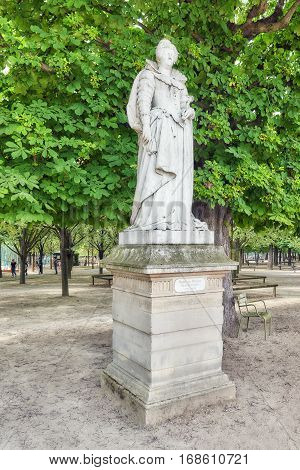 Paris, France - July 08, 2016 : Statue Of Marie De Medicis In Luxembourg Park In Paris, One Of The M