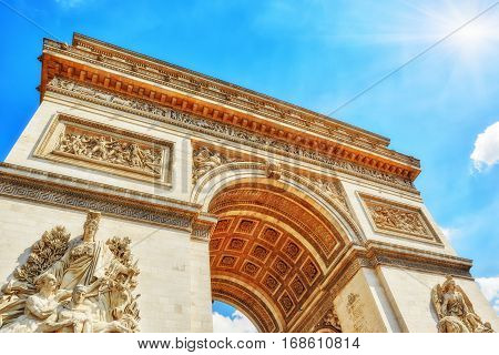 Moldings And Decorations On The Arc De Triomphe In  Paris. France.