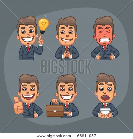 Vector Illustration, Businessman Holding Cunning, Evil, Holding Suitcase, Showing Thumbs Up, Come Up with Idea, Format EPS 8