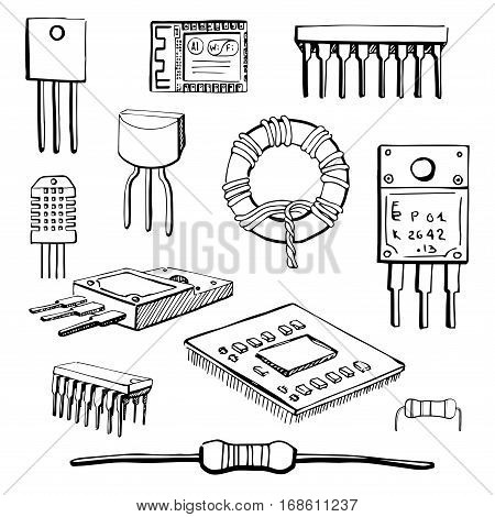 Set of electronic components: transistor inductor microchip sensor wi-fi module cpu resistor microprocessor isolated on white background. Vector illustration in a sketch style.
