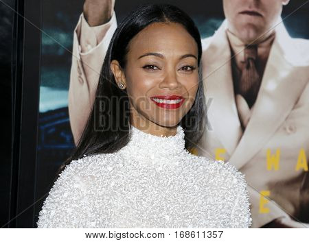 Zoe Saldana at the Los Angeles premiere of 'Live By Night' held at the TCL Chinese Theatre in Hollywood, USA on January 9, 2017.