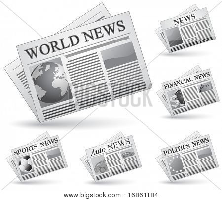 Newspaper icon set. Vector illustrations of newspaper. News concept.