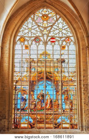 Brussels, Belgium - July 07, 2016 : Stained Glass Inside Cathedral Of St. Michael And St. Gudula  Is
