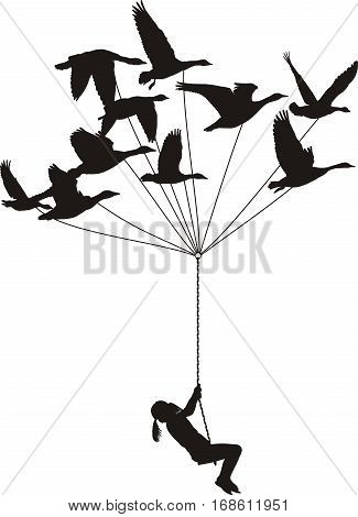 vector illustration of flying swans with a girl on a rope