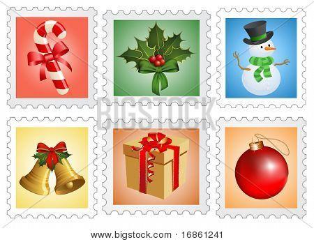 Christmas postage stamps.