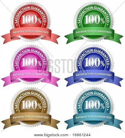 100% Satisfaction Guaranteed Set. A variety of different colour guarantee badges.