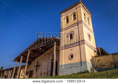Chapel, church and bell tower at the UNESCO World Heritage Jesuit Mission in Santiago de Chiquitos, Bolivia