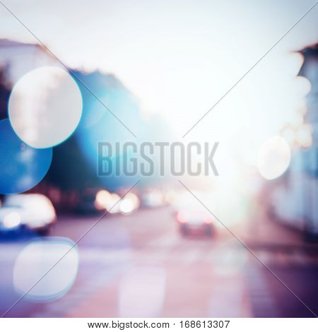 Blurred Traffic At The City Street