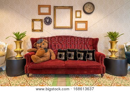Red sofa couch in morocco style  room