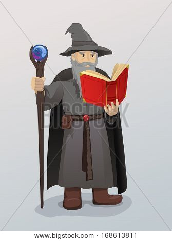 Illustration of Wizard With Magic Wand and Book
