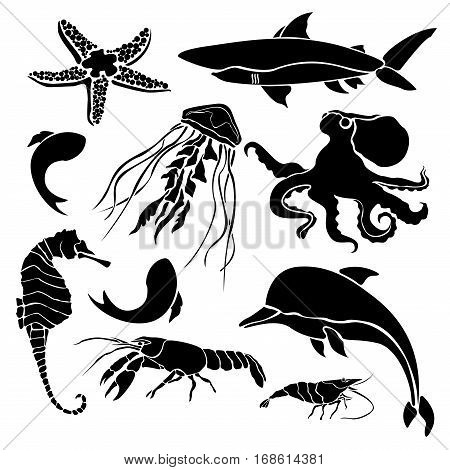 Black silhouettes sea creatures isolated on white background
