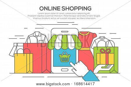 thin line flat design banner for shopping, e-commerce, online shopping