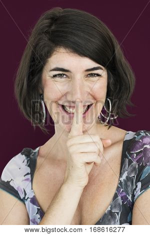 Caucasian Lady Smiling Hand Gesture Keep Quiet