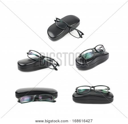 Black leather protection case box with the glasses over it, composition isolated over the white background, set of five different foreshortenings