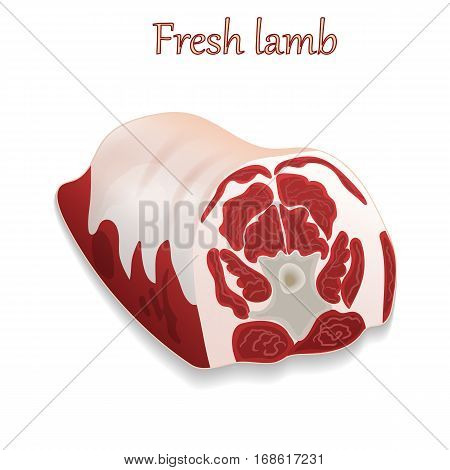 Delicious fresh lamb in cartoon style on white background for design of meat products. For use as logos on cards in printing posters invitations web design and other purposes.