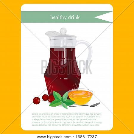 Compote in jug with mint, cranberry and honey. Menu item or sticker. Fresh healthy drink in icon. Vector illustration.