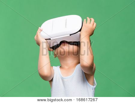 Baby looking though the VR device
