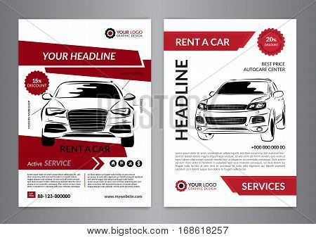 Set A4 rent a car business flyer template. Auto service Brochure templates automobile magazine cover mockup flyer. Vector illustration.