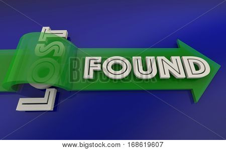 Lost Found Arrow Over Word 3d Illustration