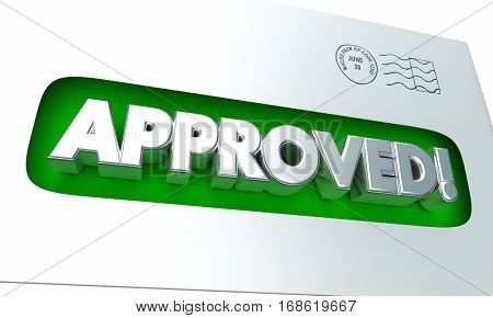 Approved Envelope Letter Approval Yes Answer 3d Illustration
