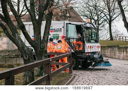 Nuremberg, Germany, December 27, 2016: garbage collection in Germany