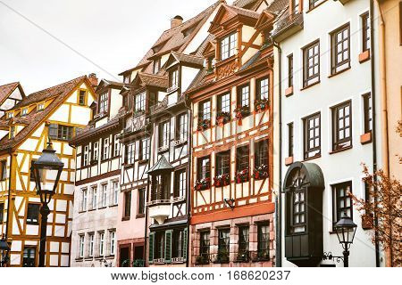 Traditional house in the German style in Nuremberg. European architecture houses in Bavaria, Germany.