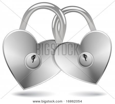 Locked Hearts. Padlocks in the shape of a heart.