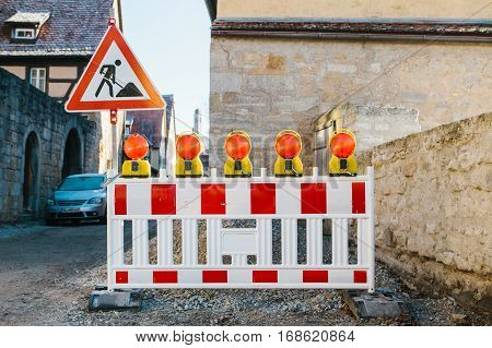 Road construction on the streets of European cities. Germany. Bavaria. Rothenburg-Ob-der-Tauber