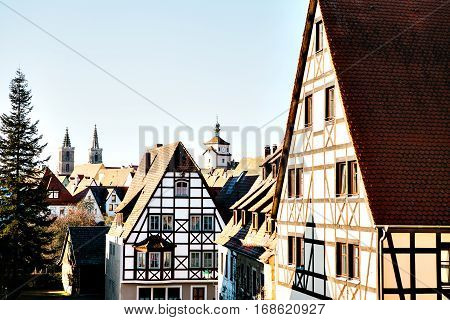 Traditional house in the German style in Rothenburg ob der Tauber. European architecture houses in Bavaria, Germany.