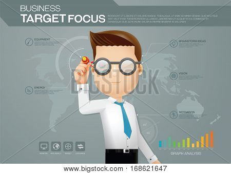 Business man background chart and presentation business target focus