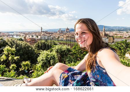 View Of A Girl At The Michelangelo Square In Florence In Italy
